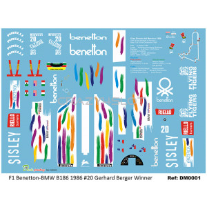 Waterslide Decals F1 Benetton-BMW B186 G.Berger n.20