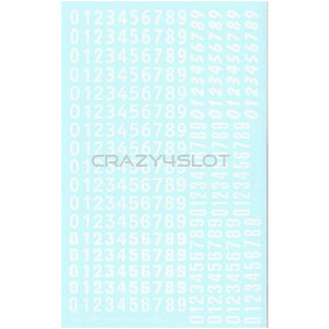 White Numbers Waterslide Decals 1:43 and 1:32